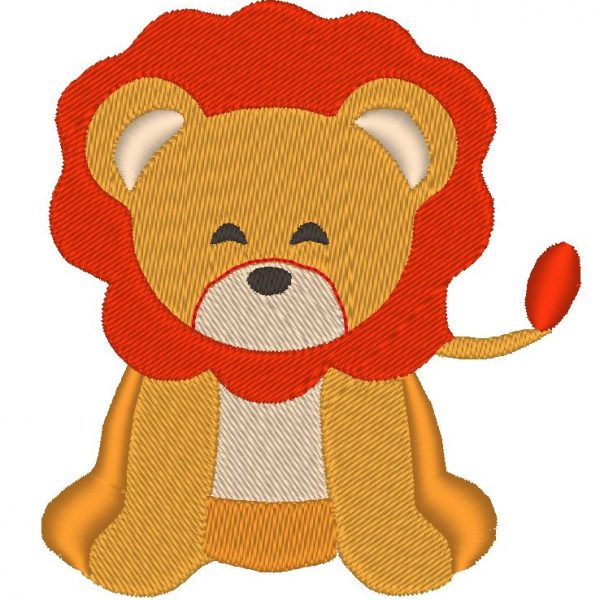 cute lion pattern embroidery machine