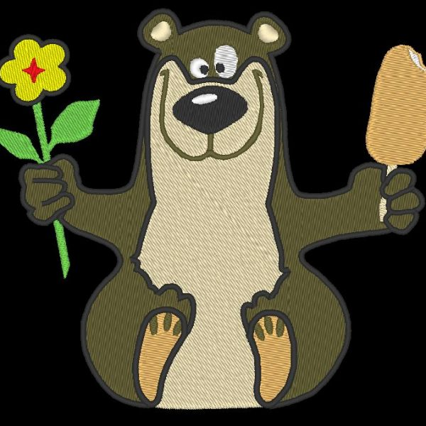 happy bear machine embroidery pattern