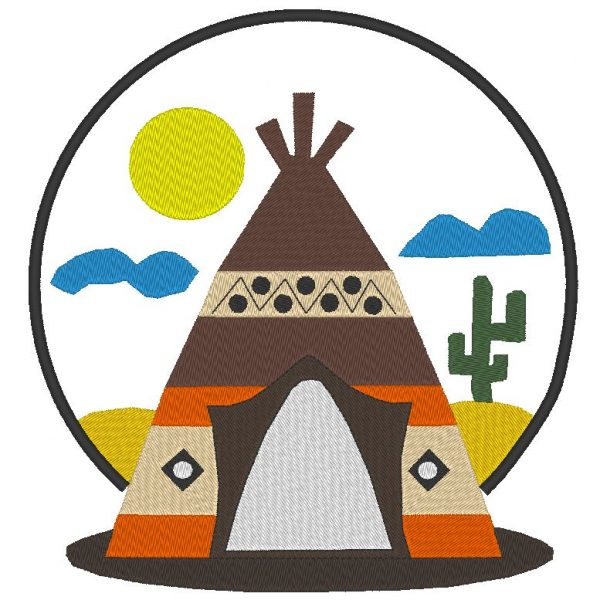 Indian teepee machine embroidery design