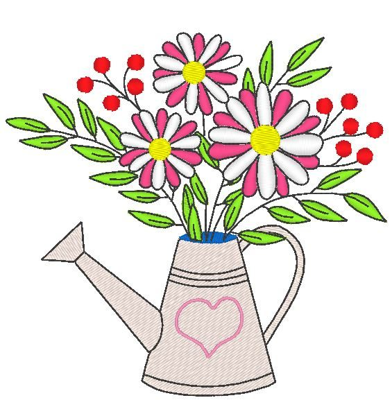 flowery watering can pattern for machine embroidery