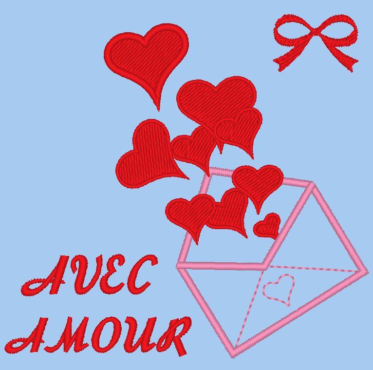 avec amour motif de broderie machine d'une enveloppe qui libère ses coeurs