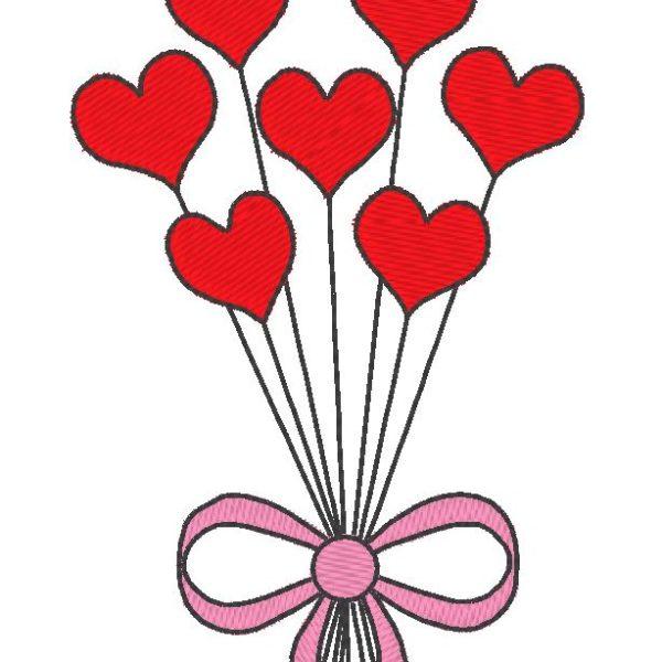 ballons en cœurs motif de broderie machine de la st valentin