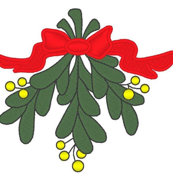 beautiful mistletoe branch machine embroidery design