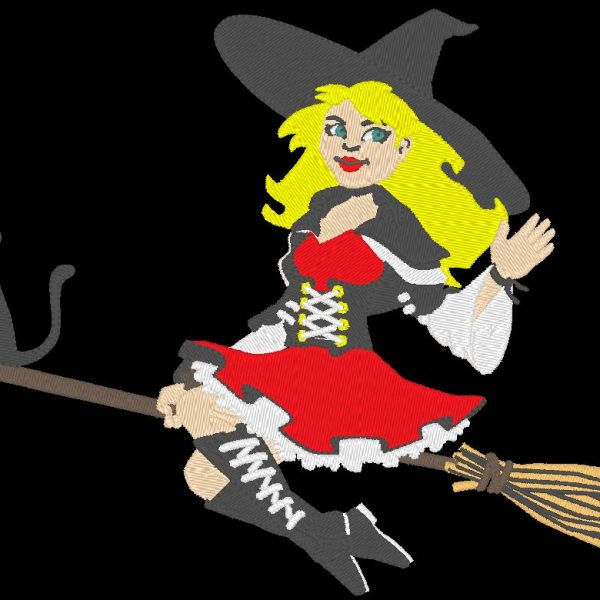 beautiful witch machine embroidery design on her moonlight broom