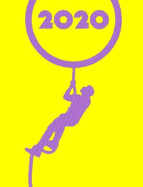 em breve 2020 design de bordados à máquina feliz ano novo