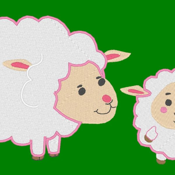 brebis et son agneau motif de broderie machine