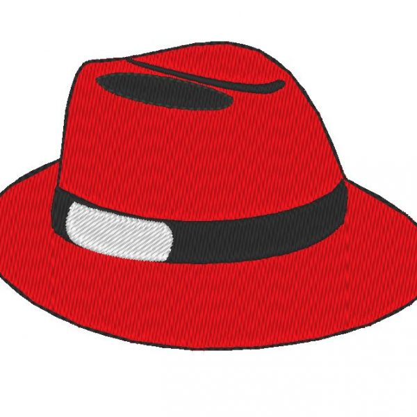diseño de bordado de máquina de sombrero rojo