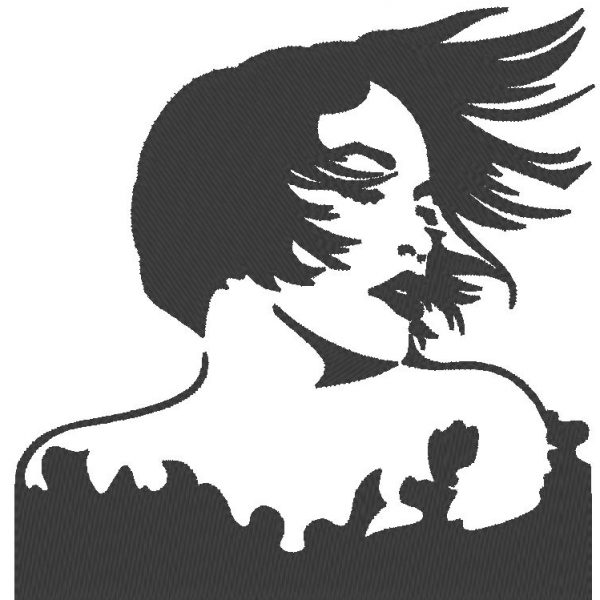 hair in the wind classic vintage machine embroidery design