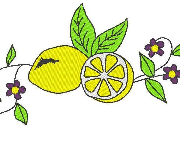 citron et fleurs motif de broderie machine