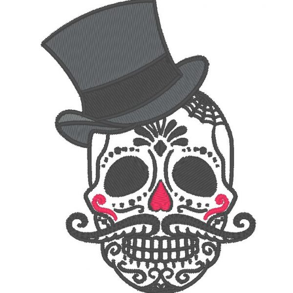 crâne avec un chapeau motif de broderie machine