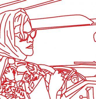 femme vintage en voiture motif de broderie machine