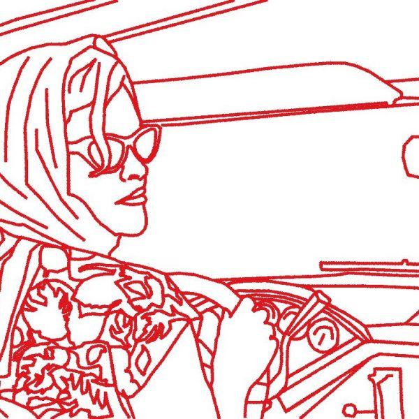mujer vintage en patrón de máquina de bordado de coche