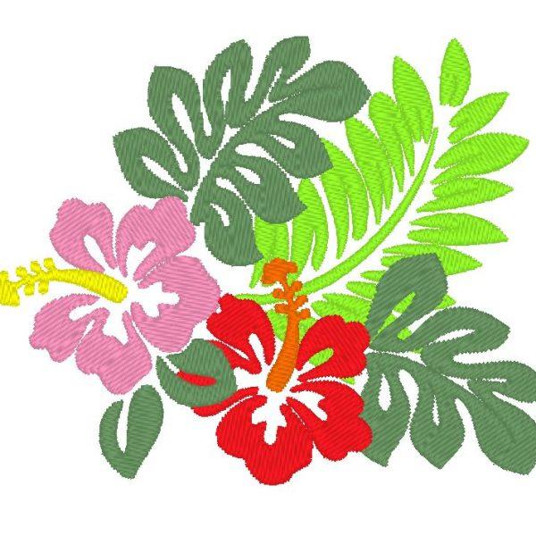 Diseño de bordado de máquina de hibisco hawaiano
