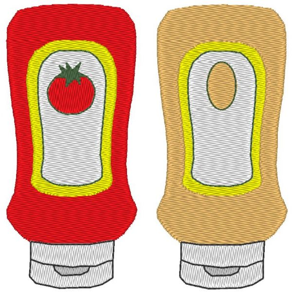 Ketchup sauce mayonnaise machine embroidery design