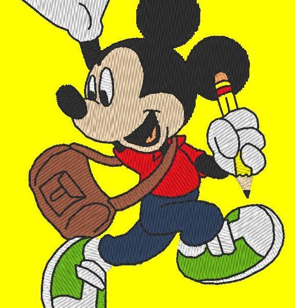 Mickey écolier motif de broderie machine