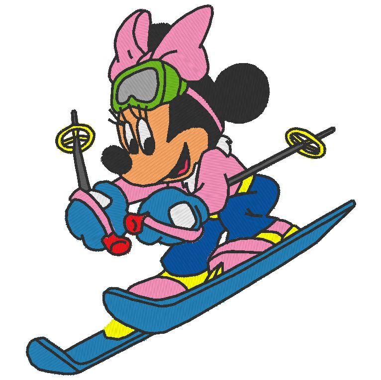 disegno da ricamo macchina da sci Minnie