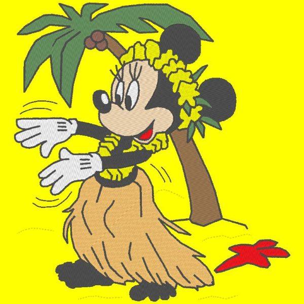 Diseño de bordado a máquina Vahine Minnie en una playa con una palma de coco