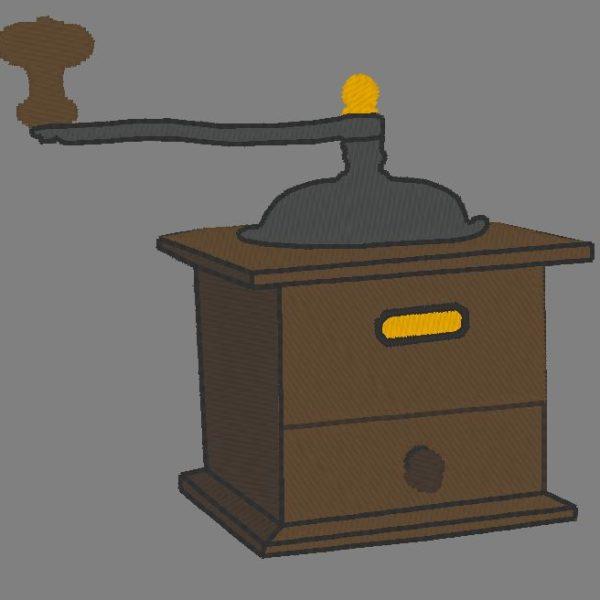 moulin à café vintage motif de broderie machine