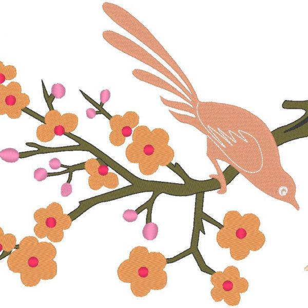 pájaro en un diseño de bordado de máquina de rama