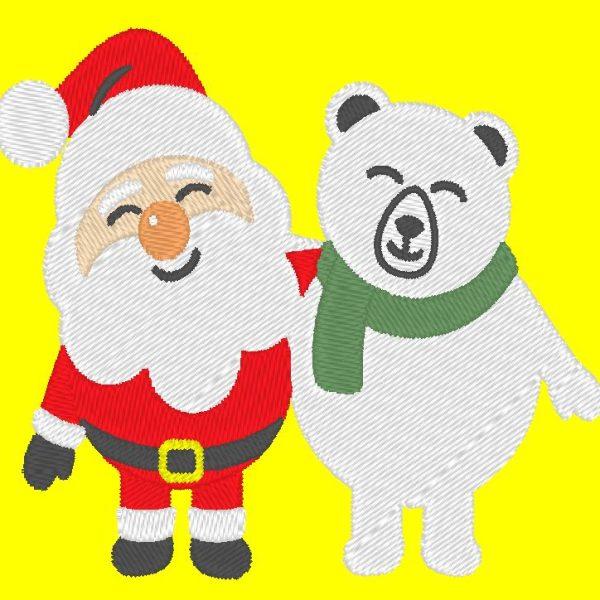 père noël et son ours polaire motif de broderie machine