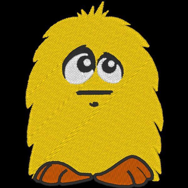 pequeno padrão de bordado de máquina peludo amarelo de um fofo pelúcia amarelo