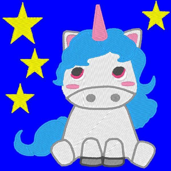 pequeño unicornio bajo el diseño de bordado a máquina de estrellas