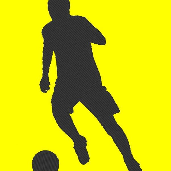 silhouette of footballer machine embroidery design