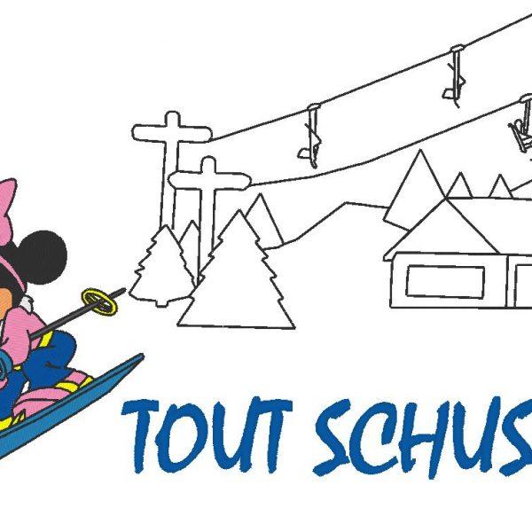 أي تصميم schuss ميني آلة التطريز على التزلج