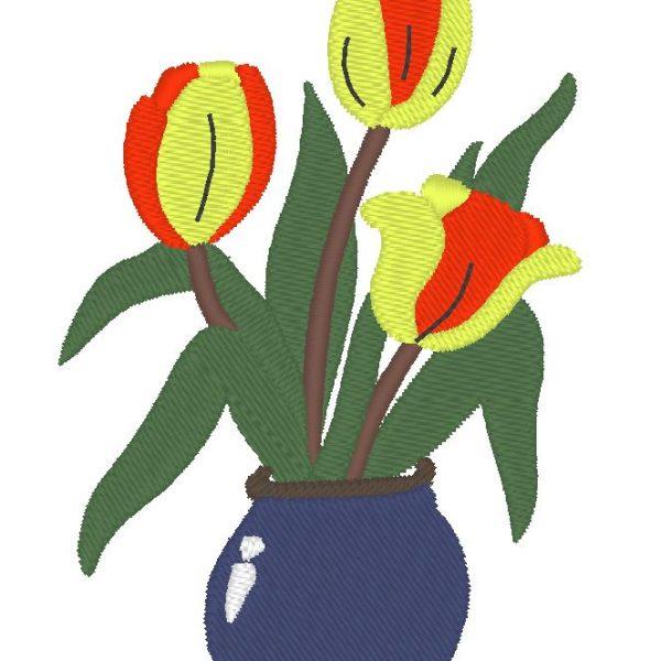 vase fleuri motif de broderie machine