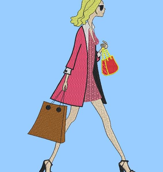 French elegance. machine embroidery design of a very elegant woman walking on the street with a handbag and a shopping bag. frame 13 x 18/20 x 20. File formats PES, CSD, EXP, HUS, SHV, VIP, XXX, DST, PCS, JEF, VP3, SEW, EMB ... Instant download