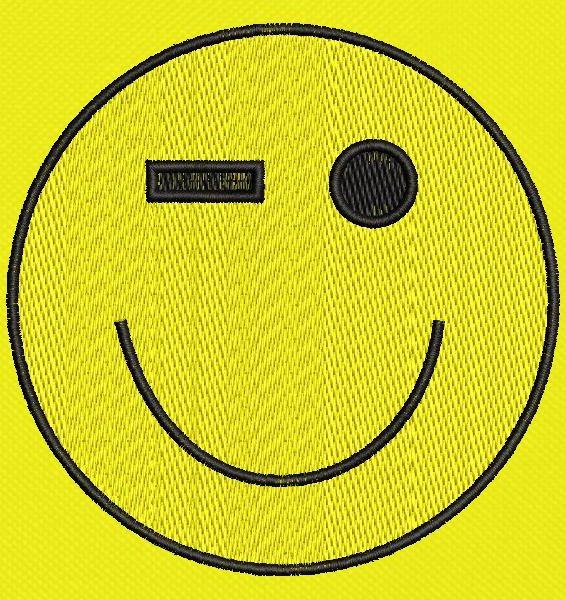 emoticon happy wink Machine embroidery design frame 10 x 10 File formats PES, CSD, EXP, HUS, SHV, VIP, XXX, DST, PCS, JEF, VP3, SEW, EMB ... Instant download