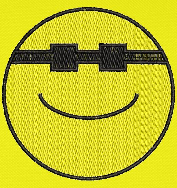 emoticon happy sunglasses Machine embroidery design frame 10 x 10 File formats PES, CSD, EXP, HUS, SHV, VIP, XXX, DST, PCS, JEF, VP3, SEW, EMB ... Instant download