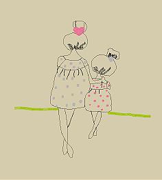 Mãe e filha sentam em um galho