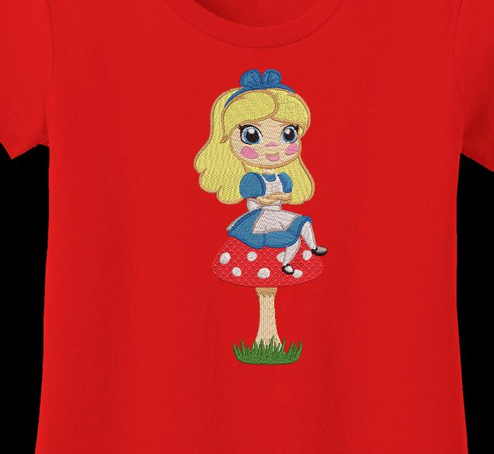 Alice on her mushroom machine embroidery design