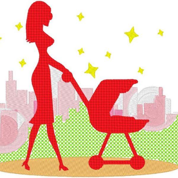 نزهة في المدينة تصميم آلة التطريز من امرأة شابة يمشي طفلها في الحديقة. 13 × 18 إطار PES ، CSD ، EXP ، HUS ، SHV ، VIP ، XXX ، DST ، PCS ، JEF ، VP3 ، SEW ، تنسيقات ملفات EMB ... تنزيل فوري