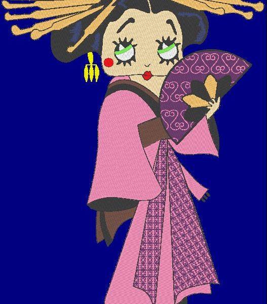 betty geisha vintage japanese machine embroidery design