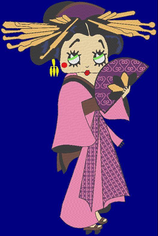 projeto japonês japonês do bordado de máquina da gueixa de betty