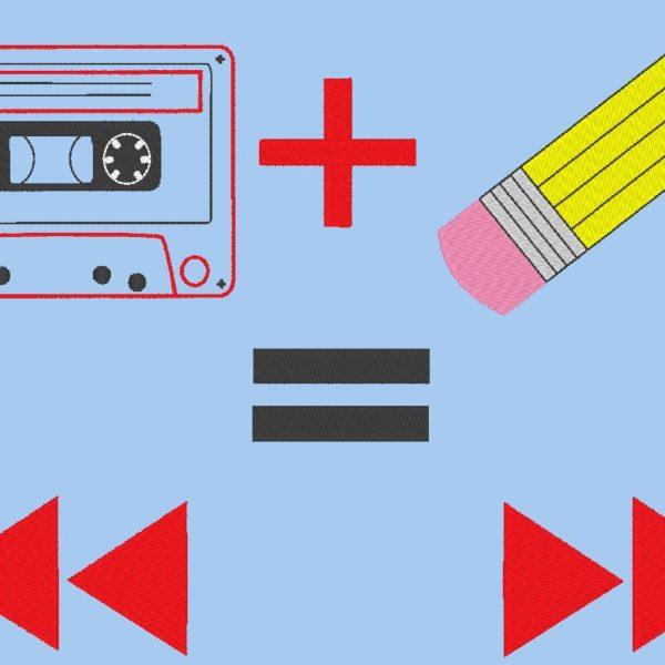 disegno di ricamo macchina audio cassette vintage