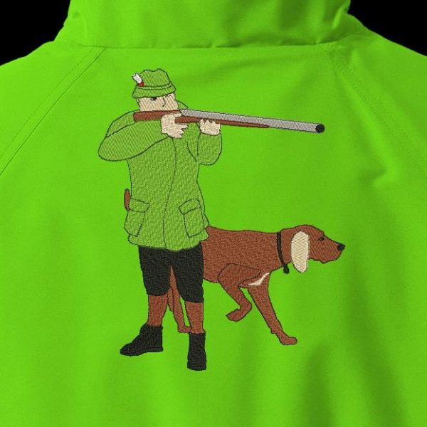 hunter and his hunting dog Machine embroidery design of a hunter and his hunting dog, aiming with his 20 x 30 frame rifle PES, CSD, EXP, HUS, SHV, VIP, XXX, DST, PCS file formats , VP3, SEW, EMB ... Instant download