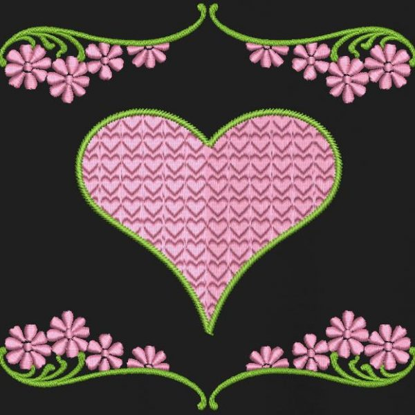 hearts and flowers Machine embroidery design frame 10 x 10/20 x 20 File formats PES, CSD, EXP, HUS, SHV, VIP, XXX, DST, PCS, JEF, VP3, SEW, EMB ... Instant download