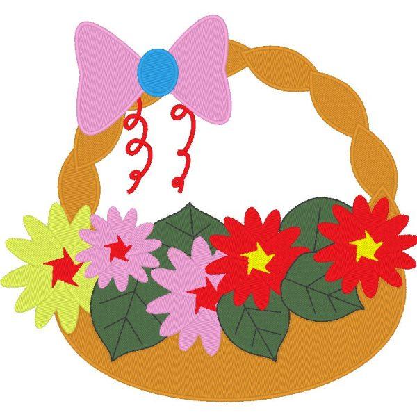 arreglo floral 2 Canasta de flores con una pajarita rosa Marco de diseño de bordado a máquina 20 x 20/10 x 10 Formatos de archivo PES, CSD, EXP, HUS, SHV, VIP, XXX, DST, PCS, JEF Descarga instantánea
