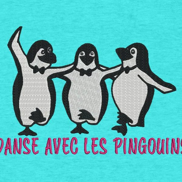 dance with penguins Machine embroidery design of 3 penguins dancing on the ice floe frame 13 x 18/20 x 30 File formats PES, CSD, EXP, HUS, SHV, VIP, XXX, DST, PCS, JEF, VP3, SEW , EMB… Instant download