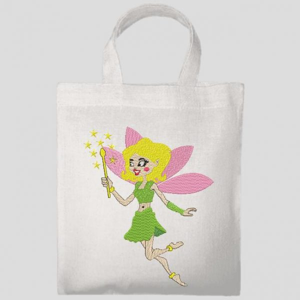 fairy with blond hair with her magic wand and her little pink wings Machine embroidery design frame 10 x 10/13 x 18/20 x 30 File formats PES, CSD, EXP, HUS, SHV, VIP, XXX, DST, PCS, JEF, VP3, SEW ... Instant download