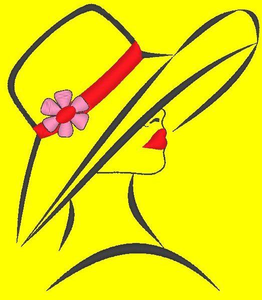 mulher elegante com um desenho de bordado à máquina de chapéu de uma mulher muito elegante com um chapéu grande e um lindo quadro de flores 10 x 10/13 x 18/20 x 20 Formatos de arquivo PES, CSD, EXP, HUS, SHV, VIP, XXX, DST, PCS, JEF, VP3, SEW, EMB ... Download imediato
