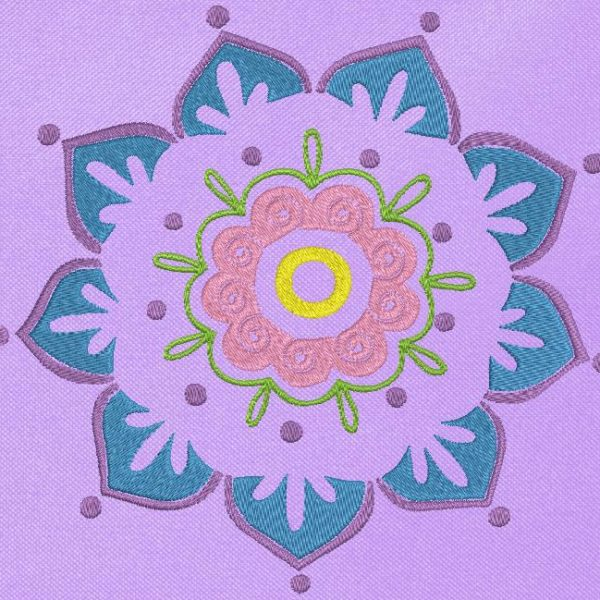 flower mandala Machine embroidery design of a beautiful mandala flower adapt the colors to your tastes for a beautiful creation frame 13 x 18/20 x 20 File formats PES, CSD, EXP, HUS, SHV, VIP, XXX, DST, PCS , JEF, VP3, EMB ... Immediate download after your payment
