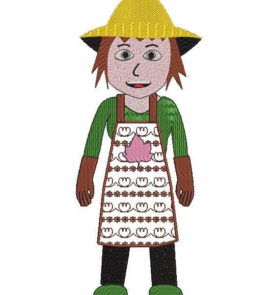 jardinière ou femme jardinier motif de broderie machine d'une femme jardinier ou une jardinière avec son tablier et son chapeau de paille . Collection des métiers cadre 13 x 18 / 20 x 30 Formats des fichiers PES,CSD,EXP,HUS,SHV,VIP,XXX,DST,PCS,JEF,VP3,SEW,EMB…