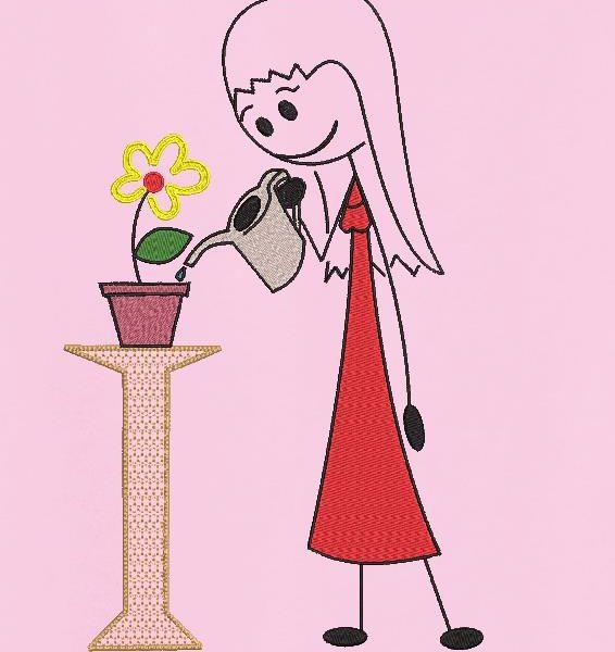 a garota com o regador usina o desenho de bordado de uma garota regando a linda florzinha em seu pote de barro. quadro 13 x 18/20 x 20 Formatos de arquivo PES, CSD, EXP, HUS, SHV, VIP, XXX, DST, PCS, JEF, VP3, SEW, EMB…
