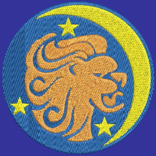 lion signe du zodiaque motif de broderie machine