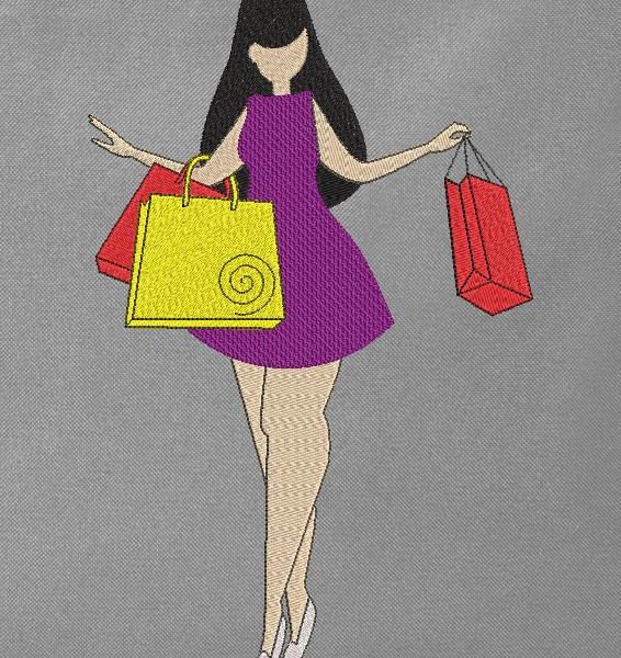 miss shopping machine embroidery design of a nice little round miss who seems happy to go shopping 13 x 18/20 x 20 File formats PES, CSD, EXP, HUS, SHV, VIP, XXX, DST, PCS, JEF, VP3, SEW, EMB ... Instant download