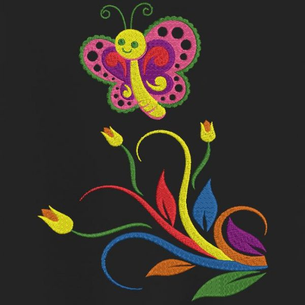 فراشة متعددة الالوان والزهور تصميم آلة التطريز